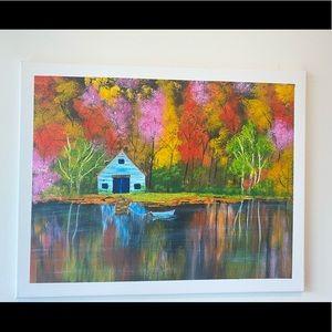 Lake house fall painting